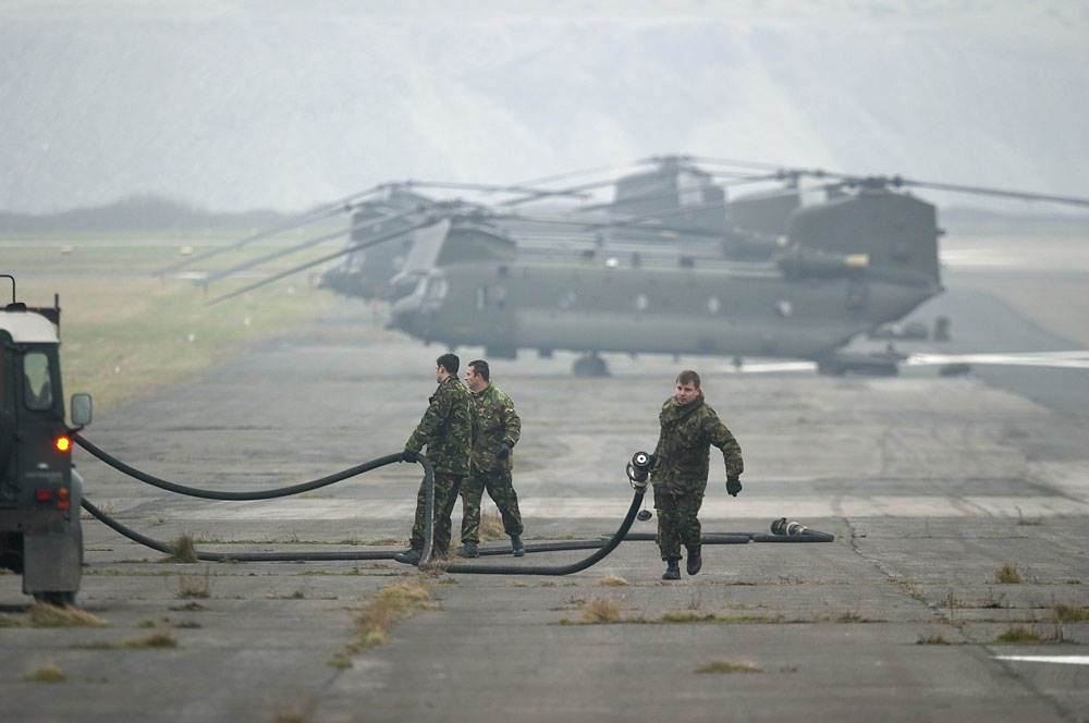 FOB Ground crew get ready for an inbound helicopter at Walney on exercise Herrick Eagle